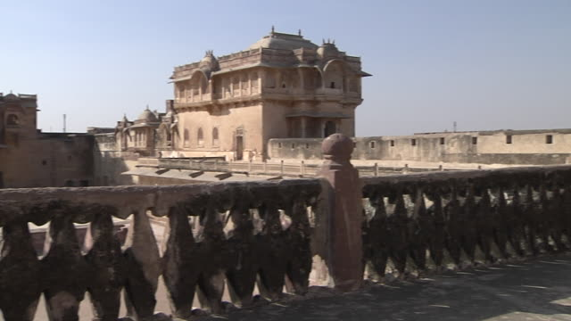 pan right corridor ahhichatragrah fort nagaur rajasthan india - fortress stock videos and b-roll footage