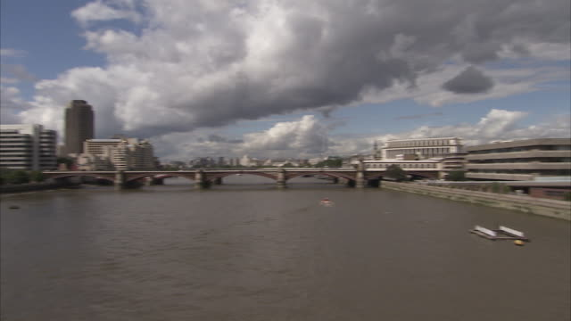 Pan right from Blackfriars Bridge to St Paul's Cathedral London Available in HD.