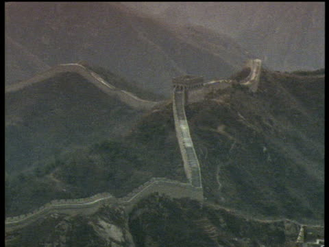Pan right from the Great Wall of China and tilt down to another part of wall with people on it