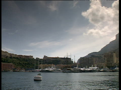 Pan right from yachts moored in harbor across to high rise buildings stacked on hillside under cloudy sky Monaco