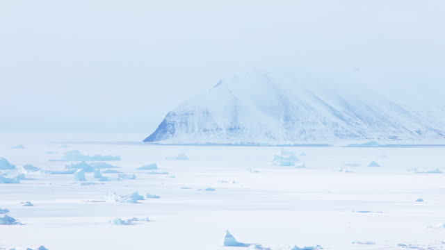 Pan right, icy tundra landscape in Greenland