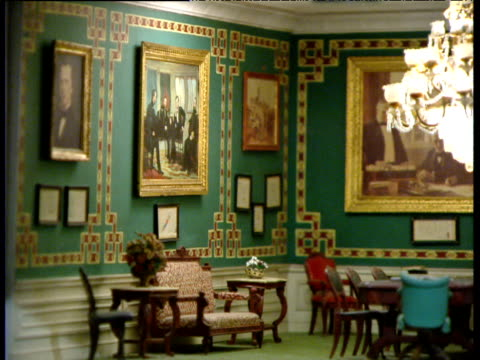 pan right in dolls' house version of white house treaty room - dollhouse stock videos & royalty-free footage