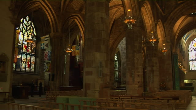 Pan Right Interior Giles Cathedral Edinburgh United Kingdom