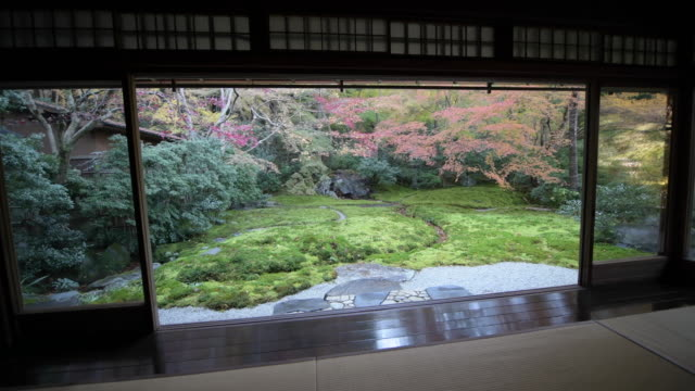 pan right, japanese garden outside temple room - oriental garden stock videos and b-roll footage