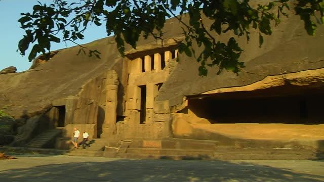 pan right kanheri caves mumbai maharashtra - cave stock videos & royalty-free footage