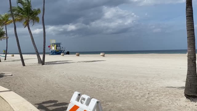 pan right of closed hollywood beach in florida for 4th of july. - hollywood florida stock videos & royalty-free footage