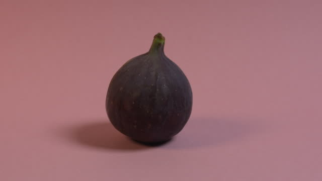 Pan right onto, then off, then pan left onto, then off, a single fig against a plain pink background.