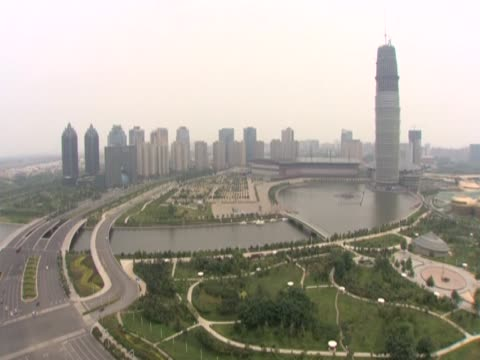 Pan right over a new city based at the edge of Zhengzhou Henan China