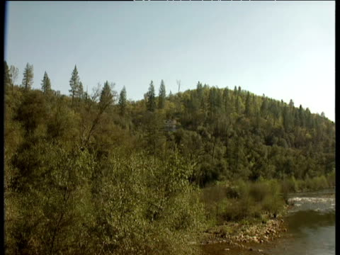 pan right over american river original location of sutter's mill sawmill centre of california gold rush coloma california - california gold rush stock videos and b-roll footage