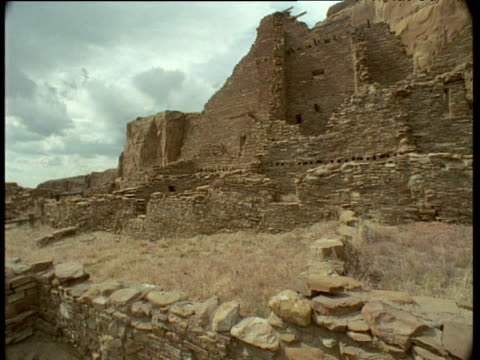 pan right over ancient anasazi indian ruins, chaco canyon, new mexico - chaco canyon stock videos & royalty-free footage