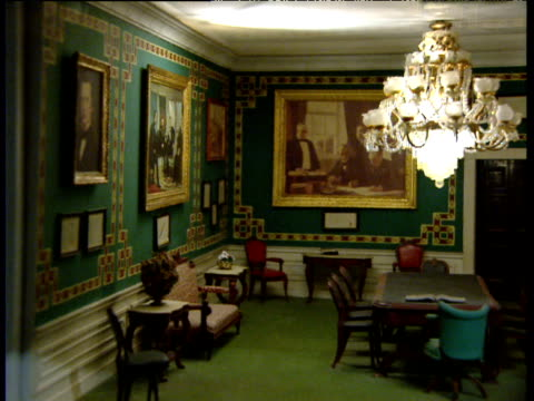 pan right over dolls' house version of white house treaty room - dollhouse stock videos & royalty-free footage