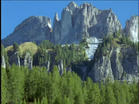 pan right over dolomite mountains - ムラがある点の映像素材/bロール