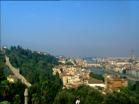 pan right over green trees rooftops and river arno to impressive view over florence including the dome from the piazzale michelangelo - tuscany stock videos & royalty-free footage