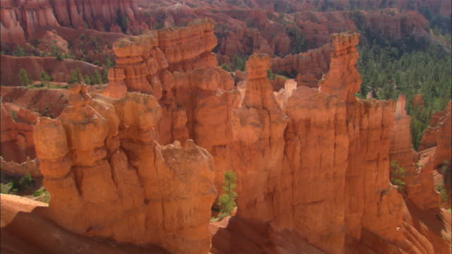 pan right over hoodoos available in hd. - bryce canyon stock videos and b-roll footage