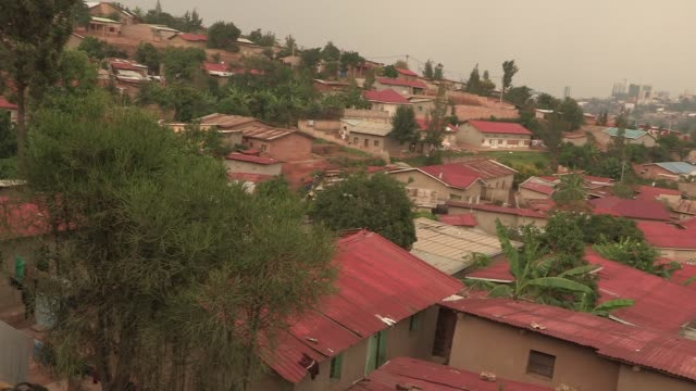 Pan right over houses in western rural Rwanda