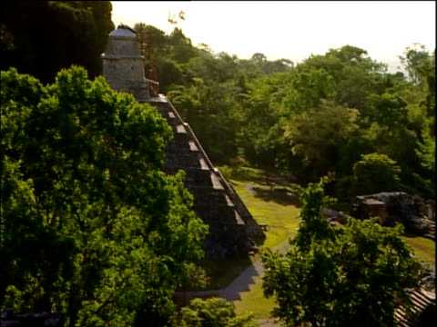 vídeos de stock e filmes b-roll de pan right over mayan ruins palenque - palenque