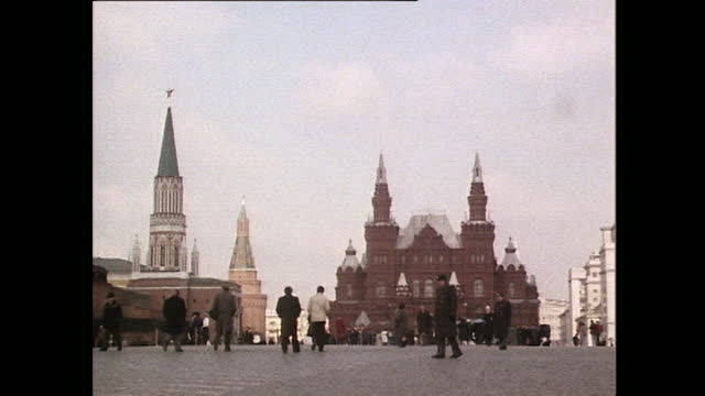 pan right over red square in moscow; 1985 - flag stock videos & royalty-free footage