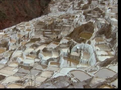 Pan right over salt pans Inca Salt Pans Peru