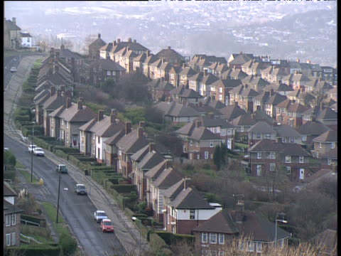 pan right over sheffield housing estate - sheffield stock videos & royalty-free footage