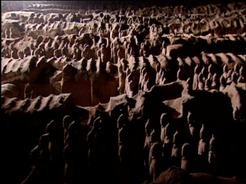 pan right over terracotta army xian - archaeology stock videos & royalty-free footage