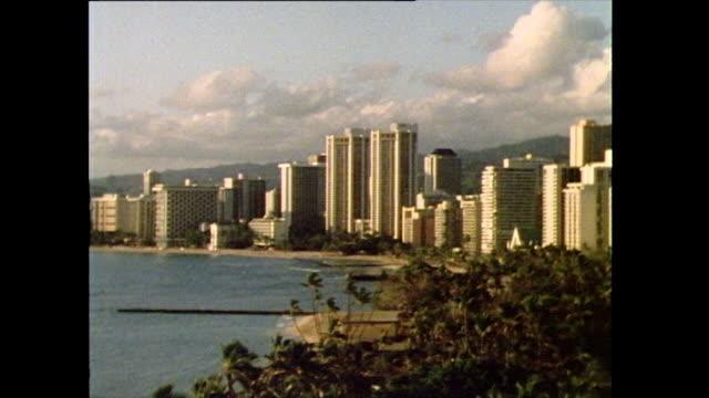 stockvideo's en b-roll-footage met pan right over waikiki beach hotels and skyscrapers; 1985 - establishing shot