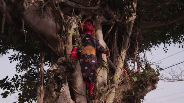 stockvideo's en b-roll-footage met pan right round statues on tree. japan. - vrouwelijke gestalte