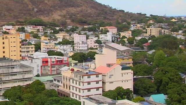 Pan Right Shot Aerial City Port Louis Mauritius