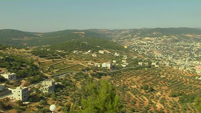 Pan Right Shot Aljoun City Aljoun Governorate Aljoun Jordan