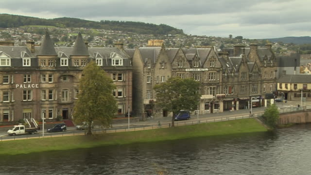 Pan Right Shot City Inverness Scotland United Kingdom