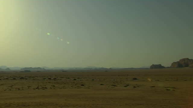 Pan Right Shot Desert Wadi Rum Aqaba Governorate Jordan