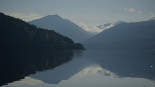 pan right shot of loch fyne - coastal feature stock videos & royalty-free footage