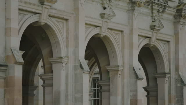 pan right shot of the arches of floors castle - stone object stock videos & royalty-free footage