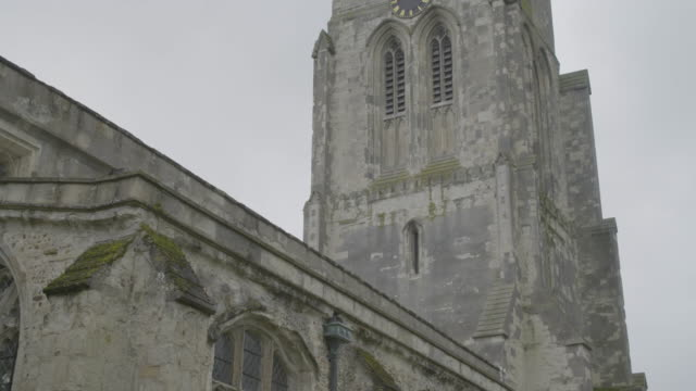 pan right shot of the church of st mary the virgin in ashwell - ornate stock videos & royalty-free footage