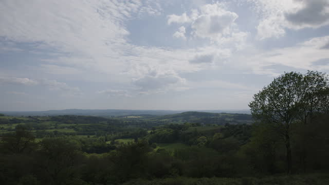 pan right shot of the malvern hills - horizon over land stock videos & royalty-free footage