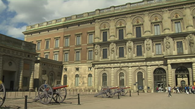 pan right shot royal palace stockholm sodermanland sweden - palace stock videos & royalty-free footage