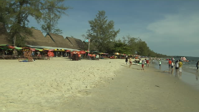pan right shot sokha beach sihanoukville cambodia - cambodia stock videos and b-roll footage