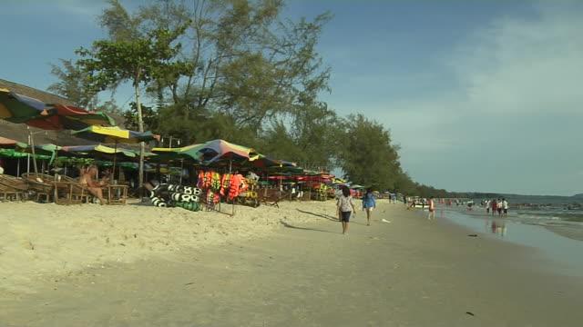 pan right shot sokha beach sihanoukville cambodia - cambodia stock videos & royalty-free footage
