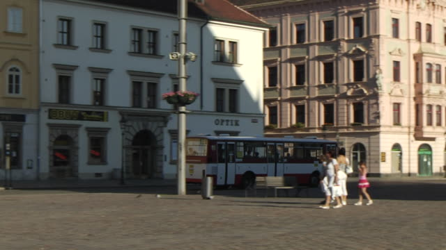 pan right shot tram pilsen  pilsen west bohemia czech republic - czech republic stock videos & royalty-free footage