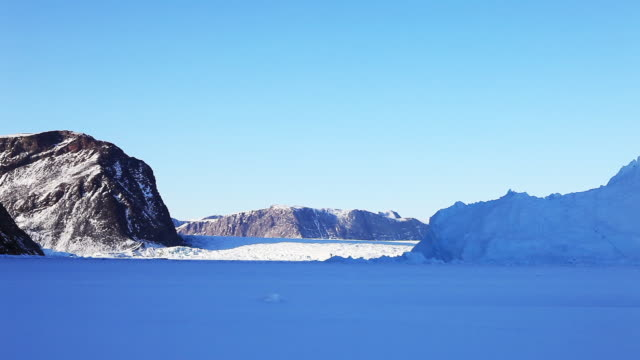 Pan right, snowy landscape in Greenland