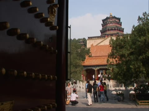 pan right to a wide shot of the summer palace in china the summer palace is a palace in beijing china the summer palace is mainly dominated by... - summer palace beijing stock videos & royalty-free footage