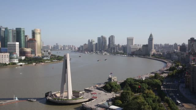 Pan right to left the historic Bund stands on the right with the Lujiazui financial district on the other side of the Huangpu river in Shanghai China...