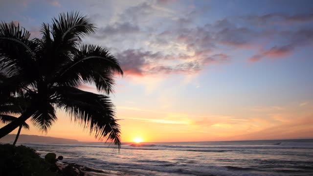 pan right to left: waves and the sunset of oahu - hawaii islands stock videos & royalty-free footage