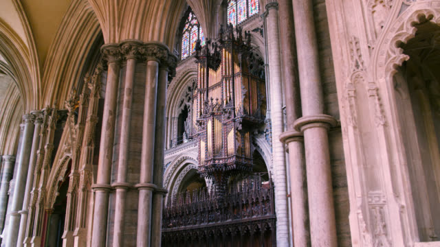 pan right to organ in ely cathedral, uk - column stock videos & royalty-free footage