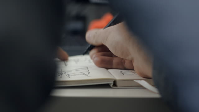 stockvideo's en b-roll-footage met pan right to reveal someone writing in notebook 6 - tekening