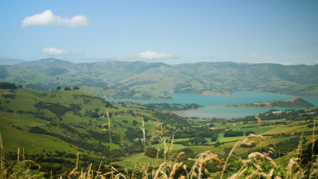 pan right to show view of banks peninsula, new zealand - akaroa stock videos & royalty-free footage