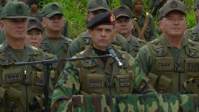 """venezuela military press conf on """"bolivarian sovereignty exercise"""" venezuelan """"high military command"""" with """"international military allies"""" and... - venezuela stock videos & royalty-free footage"""