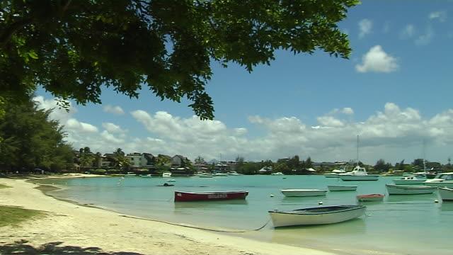 Pan Right Wide Angle Shot Grand Bay Beach Mauritius
