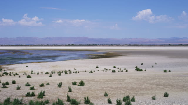 Pan right, wide shot of lake shore in desert landscape