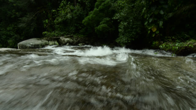 pan right with water flowing over rapids. - south america stock videos & royalty-free footage