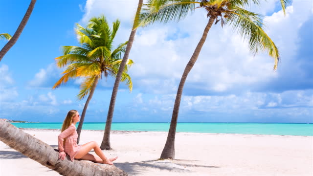 Coconut palm tree videos and b roll footage getty images ms pan right young woman sitting on palm tree at tropical beach voltagebd Image collections